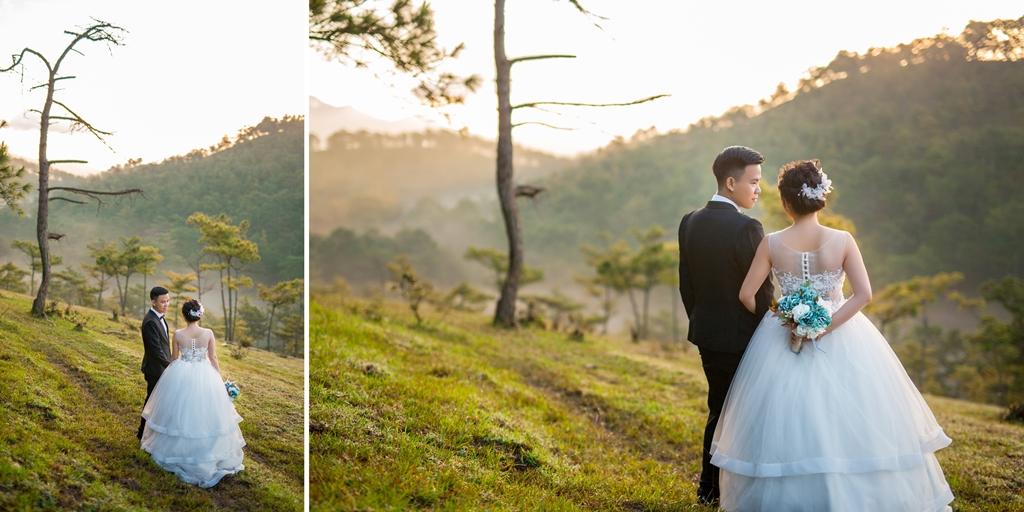 Hình cưới Bình Minh Đà Lạt trên đồi trọc ( đồi cỏ hồng)