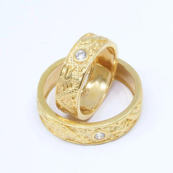 Nhẫn cưới long phụng bằng vàng trắng