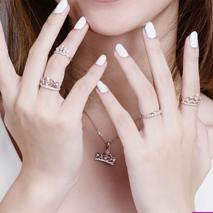 Nhẫn đôi PNJ bạc đính đá CZ Swarovski vương miện