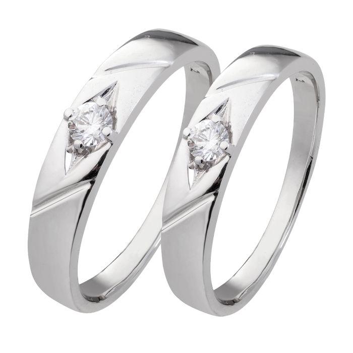 Nhẫn đôi PNJ bạc trơn đính đá CZ Swarovski